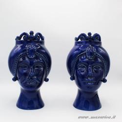 Blu Modern moor heads in glossy  Sicilian ceramic
