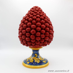 Pigna siciliana rossa con base decorata h cm 30 in...