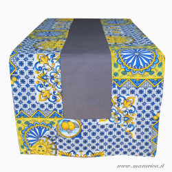 Sicilian patterned table runner in grey cotton with...