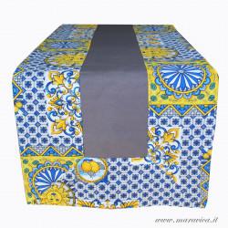 Runner da tavolo stile siciliano in cotone grigio con...