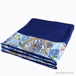 Telo mare blu in spugna alta qualità con bordi in tessuto...