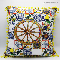 Throw pillow in majolica patterned cotton and Sicilian...