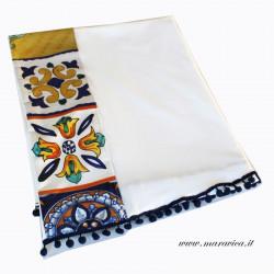 Telo mare cotone bianco con bordi stampa maiolica con bon...
