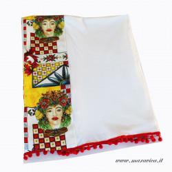 Telo mare cotone bianco con bordi stoffa con teste di...