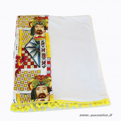 Sicilian style Beach towel in soft white cotton with...