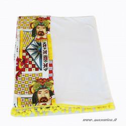 Telo mare in cotone bianco con bordi tessuto con teste di...