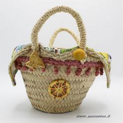 Sicilian coffa bread basket with Caltagirone ceramic...