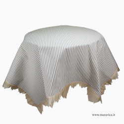 Shabby chic tablecloth in striped cotton with organza edges