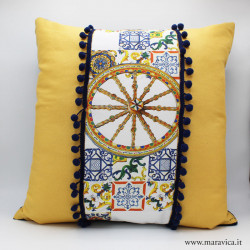 Throw pillow in yellow cotton Sicilian prints with blue...