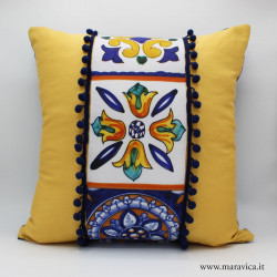 Throw pillow in yellow cotton majolica print tiles with...