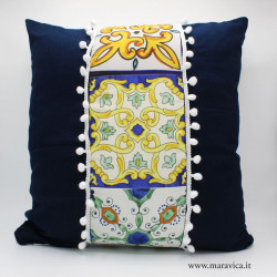 Cuscino siciliano in cotone blu stampa maiolica...