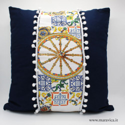 Cuscino stile siciliano in cotone blu stampa maiolica e...