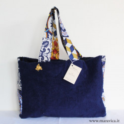 Beach bag in blue terry cloth with sicilian majolica...