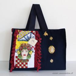 Beach bag in blue cotton and moorish heads print cotton