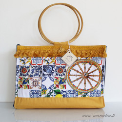 Sicily beach bag in yellow cotton and Sicilian print...