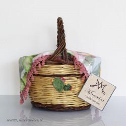 Sicilian basket bread basket with prickly pear decoration