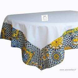 White cotton tablecloth with Sicilian majolica and sun...