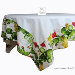 Cream white cotton table cloth with Sicilian prickly pear...