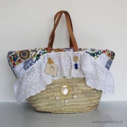 Sicilian coffa Sicily beach bag with sangallo lace