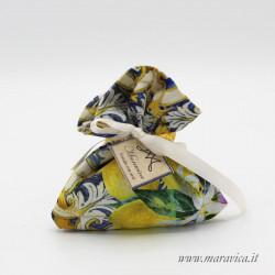 20 sugared almond bags in majolica and lemon print cotton