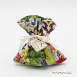 20 sacchettini porta confetti in cotone maiolica e fiori