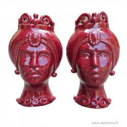 Carmine Modern moor heads in glossy  Sicilian ceramic