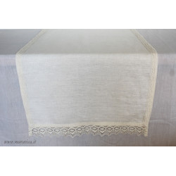 Linen table centerpiece runner with shabby chic lace
