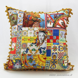 Sicilian style throw pillow with trimmings