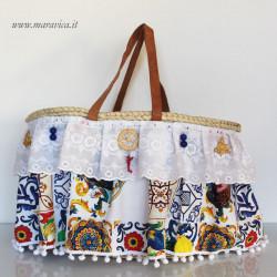 Sicilian coffa Beach bag with sangallo lace and bon bon
