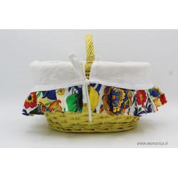 Kitchen basket bread holder with Sicilian patterned edges...
