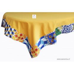 Tovaglia da tavola in cotone giallo con bordo stampa...