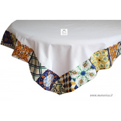White cotton tablecloth table cover with sicilian...
