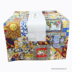 Sicilian style cotton table runner cream background...