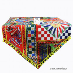 Sicilian style cotton table runner with Sicilian puppets...