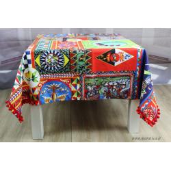 Cotton tablecloth with Sicilian puppet print with bon bon
