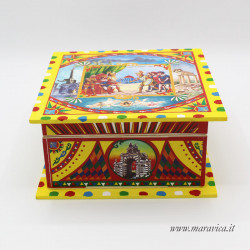 Small square wooden boxes with Sicilian style decoration