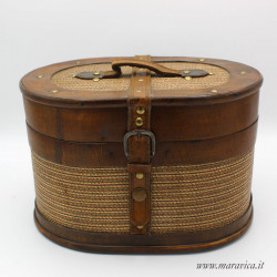 Oval wooden box case gift box