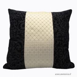 Luxury sofa cushion in elegant black velvet and...