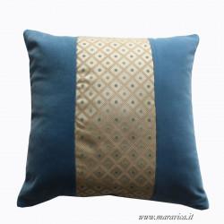 Luxury sofa cushion in elegant turquoise velvet and...