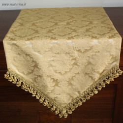Classic elegant gold damask table runner with trimmings