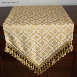 Classic elegant table runner in cream and gold damask...