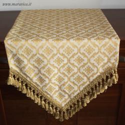 Runner tavolo classico elegante damasco panna e oro a...