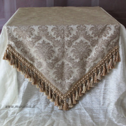 Elegant beige damask pointed table runner with trimmings