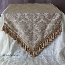 Runner tavolo elegante damasco beige a punta con...