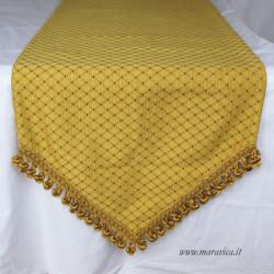 Runner tavolo natale elegante damasco oro a rombi  con...