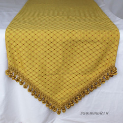 Elegant Christmas table runner in gold damask with...