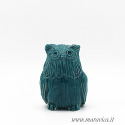copy of Green owl lucky charm in Caltagirone ceramic