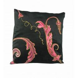 Cuscino decorativo velluto nero dipinto a mano barocco...