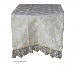 Shabby chic luxury doily in silk taffeta with lace...