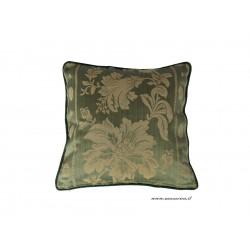 Cuscino divano elegante verde e oro fantasia floreale